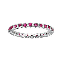 Personally Stackable Lab-Created Ruby Sterling Silver Eternity Ring