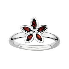 Personally Stackable Genuine Garnet Sterling Silver Flower Ring