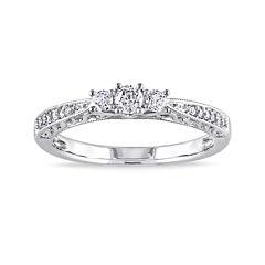 1/4 CT. T.W. Diamond 10K White Gold Vintage-Style 3-Stone Promise Ring