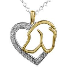 ASPCA® Tender Voices™ 1/10 CT. T.W. Diamond Dog Heart Pendant Necklace