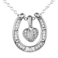 ASPCA® Tender Voices™ 1/5 CT. T.W. Diamond Heart Horseshoe Pendant Necklace