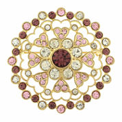 Monet Jewelry Pink Clear And Goldtone Cluster Pin
