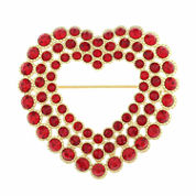 Monet Jewelry Red And Goldtone Open Heart Pin
