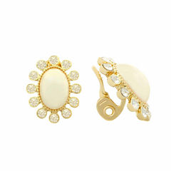 Monet White And Goldtone Clip Earring