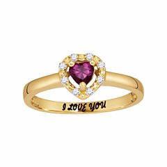 Personalized Birthstone & Cubic Zirconia Heart Halo Ring