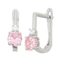 Pink Cubic Zirconia Sterling Silver Drop Earrings