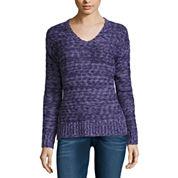 Arizona Marled Side Slit Sweater- Juniors