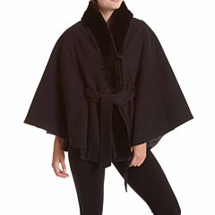 Excelled® Faux-Wool Belted Cape