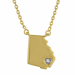 Diamond Accent 14K Yellow Gold over Silver Georgia Pendant Necklace
