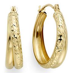 Diamond-Cut 14K Yellow Gold 18.6mm Double-Hoop Earrings