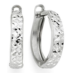 Diamond-Cut 14K White Gold Hinged Hoop Earrings