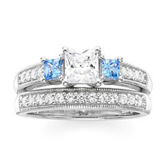 DiamonArt® White and Blue Cubic Zirconia Sterling Silver 3-Stone Princess-Cut Bridal Ring Set