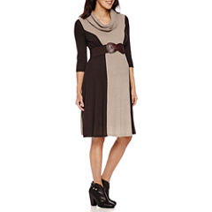 Robbie B 3/4 Sleeve Colorblock Infinity Scarf Belted Sweater Dress