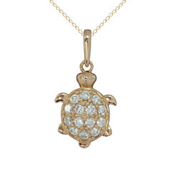 Girls White Cubic Zirconia 14K Gold Pendant Necklace
