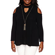 by&by Long Sleeve Mock Neck Knit Blouse-Juniors Plus