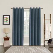 Sun Zero Blackout Tayden Yarn Dyed Woven Grommet-Top Curtain Panel