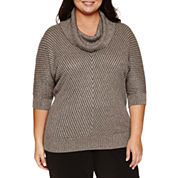 Alyx Short Sleeve Chevron Banded Cowl Neck Sweater-Plus