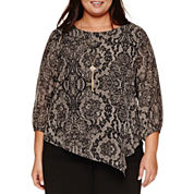 Alyx 3/4 Sleeve Lace Printed Blouse with Necklace-Plus
