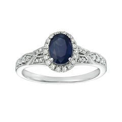 Genuine Blue Sapphire and 1/5 CT. T.W. Diamond Sterling Silver Oval Ring