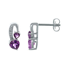 Genuine Amethyst and Diamond-Accent Sterling Silver Double-Heart Earrings