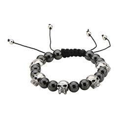 Mens Stainless Steel Skull and Onyx Bead Stretch Bracelet