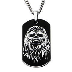 Star Wars® Chewbacca Mens Stainless Steel Dog Tag Pendant Necklace