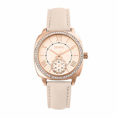 Geneva Womens Rose Goldtone Strap Watch-Pt2517rgbg