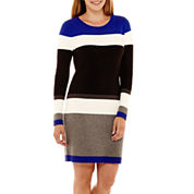 Jessica Howard Long-Sleeve Striped Sweater Dress