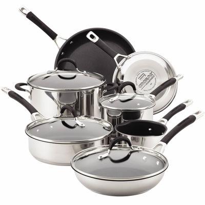 circulon momentum 11pc stainless steel nonstick cookware set