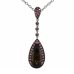 Womens Smoky Quartz Sterling Silver Pendant Necklace