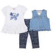 Little Lass Girls 3-pc. Legging Set-Preschool