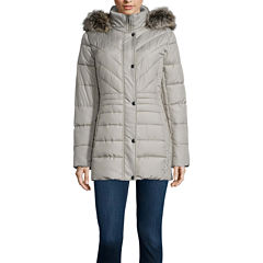 Liz Claiborne® Side Panel Puffer Jacket with Fur Hood - Tall
