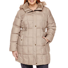 Liz Claiborne® Side-Tab Puffer Jacket With Faux-Fur Collar