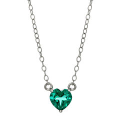 Lab-Created Aquamarine Sterling Silver Heart Pendant Necklace