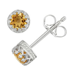 Round Orange Citrine Sterling Silver Stud Earrings