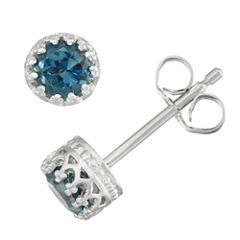 Round Blue Topaz Sterling Silver Stud Earrings