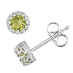 Round Green Peridot Sterling Silver Stud Earrings