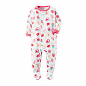 Carter's Girls Long Sleeve Footed Pajamas-Baby