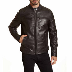 Excelled® Contemporary Banded Collar Moto Jacket