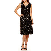 RN Studio by Ronni Nicole Sleeveless Dot Fit-and-Flare Dress