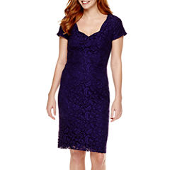 Liz Claiborne® Short-Sleeve Lace Sheath Dress