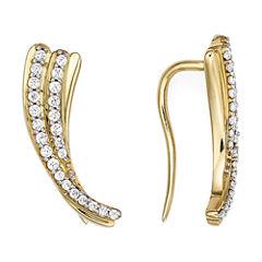 1/4 CT. T.W. Diamond 10K Yellow Gold Curve Earrings