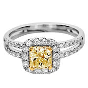 LIMITED QUANTITIES 1½ CT. T.W. White and Color-Enhanced Yellow Diamond Engagement Ring