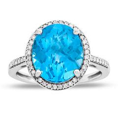 Womens Genuine Blue Blue Topaz 10K Gold Cocktail Ring