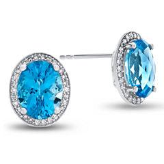 1/5 CT. T.W. Oval Blue Blue Topaz 10K Gold Stud Earrings