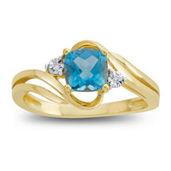 Genuine Blue Topaz & Diamond Accent 10K Yellow Gold Ring