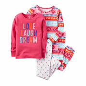 Carter's Girls 4-pc. Long Sleeve Kids Pajama Set-Toddler