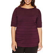 Liz Claiborne Long Sleeve Boat Neck Knit Pullover Sweater-Plus