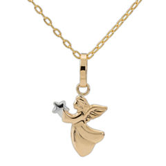 14K Yellow Gold Angel Pendant Necklace