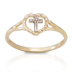 14K Yellow Gold Beaded Cross Ring